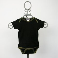 Camo Infant Bodysuit in Black with Green Camouflage Trim