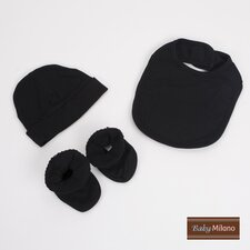 Bib, Booties and Hat Gift Set in Black