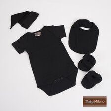 Infant Bodysuit, Bib, Knotted Hat and Booties Gift Set in Black