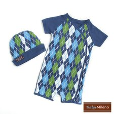 Body Suit and Hat Gift Set in Blue Argyle