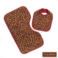 Bib and Burp Cloth in Leopard Print