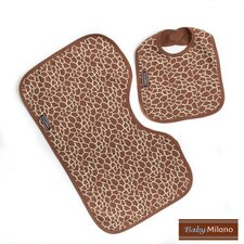 Bib and Burp Cloth Set in Giraffe Print