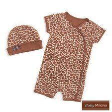 Hat and Body Suit Set in Giraffe Print