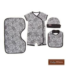 <strong>Baby Milano</strong> 4 Piece Baby Clothing Gift Set in Zebra Print