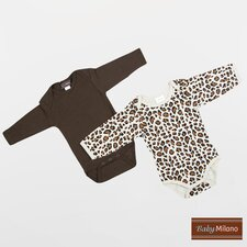 Infant Bodysuits Long Sleeve Gift Set in Brown and Leopard Print