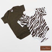 Infant Bodysuits Short Sleeve Gift Set in Zebra Print and Brown