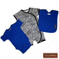 3 Piece Baby Outfit Gift Set in Zebra Print and Blue