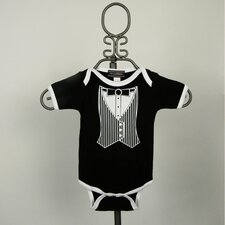Black Tuxedo Vest Infant Bodysuit - Short Sleeve with White Trim