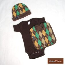 Baby Boy Outfit in Brown Argyle