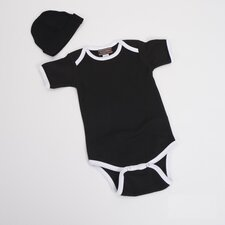 Infant Bodysuit with White Trim and Hat in Black