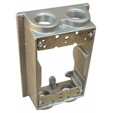 "Weatherproof One Gang Flanged Box Extension Adapter in Grey with 4"" Outlet Holes"