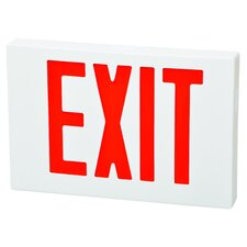 2 Circuit LED Exit Sign in Red LED and White Housing with Battery Backup