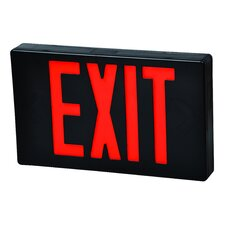 LED Exit Sign in Red LED and Black Housing with Battery Backup