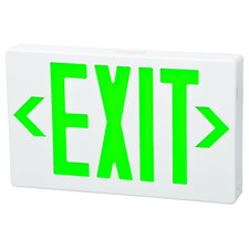 <strong>Morris Products</strong> LED Exit Sign in Green LED and White Housing with Battery Backup