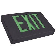 2 Circuit LED Exit Sign in Green LED and White Housing with Battery Backup
