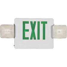 Combo LED and Exit / Emergency Light in Green LED and White Housing