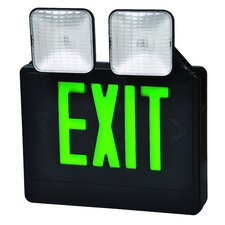 Combo LED and Exit / Emergency Light in Green LED and Black Housing
