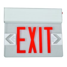 <strong>Morris Products</strong> Surface Mount Edge Lit LED Exit Sign with Red on Clear Panel and White Housing