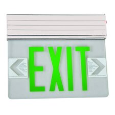 <strong>Morris Products</strong> Surface Mount Edge Lit LED Exit Sign with Green on Clear Panel and White Housing