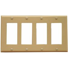4 Gang Decorator / GFCI Lexan Wall Plates in Ivory
