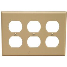 3 Gang Duplex Lexan Receptacle Wall Plates in Ivory