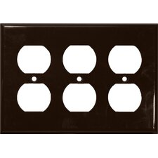 3 Gang Duplex Lexan Receptacle Wall Plates in Brown