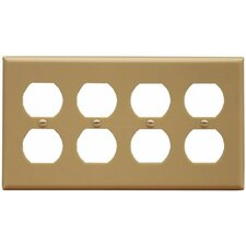 <strong>Morris Products</strong> 4 Gang Duplex Lexan Receptacle Wall Plates in Ivory