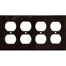 4 Gang Duplex Lexan Receptacle Wall Plates in Brown