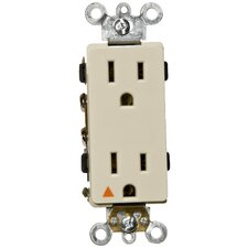 15A-125V Decorator Isolated Ground Duplex Receptacle in Ivory