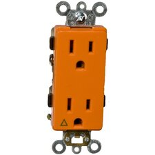 15A-125V Decorator Isolated Ground Duplex Receptacle in Orange