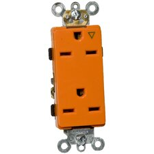 15A-250V Decorator Isolated Ground Duplex Receptacle in Orange