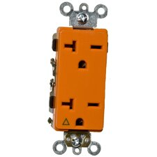 20A-250V Decorator Isolated Ground Duplex Receptacle in Orange
