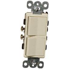 15A-120/277V Commercial Grade Decorator Double Rocker Switch in Ivory