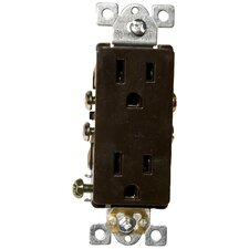 15A-125V Decorator Duplex Receptacle in Brown
