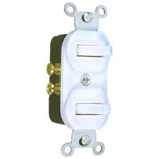 15A-120/277V Single Pole Double Switch in White
