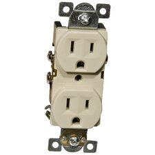 15A Industrial Grade Duplex Receptacle in Ivory