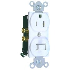 Combination Single Pole Switch and Receptacle in White