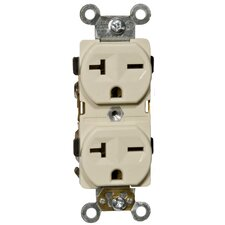20A-250V Industrial Grade Duplex Receptacle in Ivory