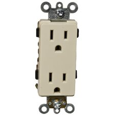 15A Industrial Grade Decorator Duplex Receptacle in Ivory