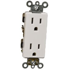 15A Industrial Grade Decorator Duplex Receptacle in White