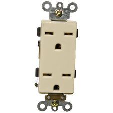 15A-250V Industrial Grade Decorator Duplex Receptacle in Ivory