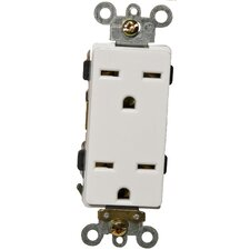 15A-250V Industrial Grade Decorator Duplex Receptacle in White