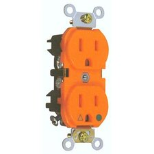 15A Isolated Ground Duplex Receptacle in Orange