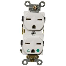 15A-250V Isolated Ground Duplex Receptacle in White