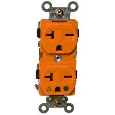 20A-250V Isolated Ground Duplex Receptacle in Orange