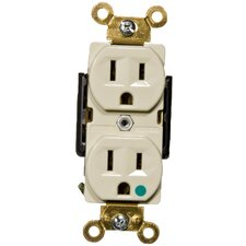 15A Hospital Grade Duplex Receptacle in Ivory