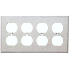 Four Gang and Duplex Receptacle Metal Wall Plates in Stainless