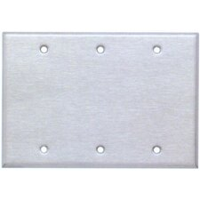 Three Gang and Blank Metal Wall Plates in Stainless