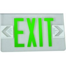 Surface Mount Edge Lit Double Sided Face Plate LED Exit Sign with Green on Clear Panel