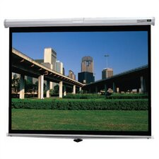 "Matte White Deluxe Model B Manual Screen - 52"" x 92"" HDTV Format"
